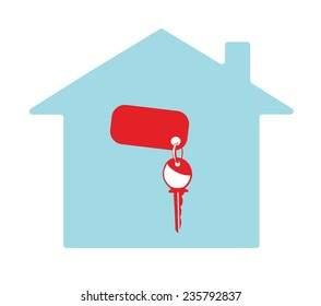 Vector image of a key in a house