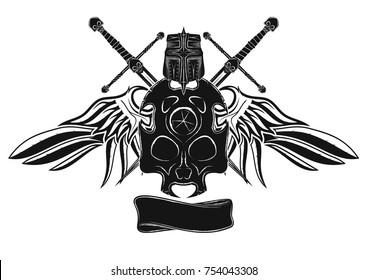 The vector image of a knightly board in the form of a skull, swords, a helmet and a ribbon against the background of open wings of a raven. Black tribal tattoo. Vector color illustration.