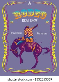 vector image of a koyboy on a wild horse in the style of a rodeo poster