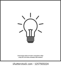 Vector image lamp. Light bulb icon on white isolated background. Layers grouped for easy editing illustration. For your design.