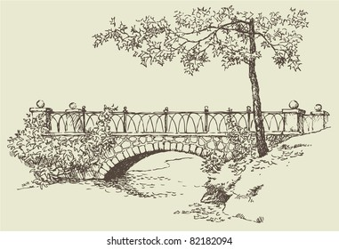 Vector image. Landscape sketch of the branches of a maple near the stone bridge over the river