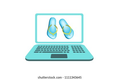 Vector image of a laptop with flip flops on the screen