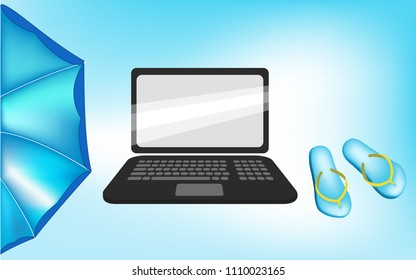 Vector image of a laptop with a parasol and flip flops in the sunshine
