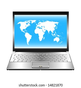 Vector image of laptop with world map on screen.