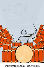 Vector image of a large drum kit and drummer.