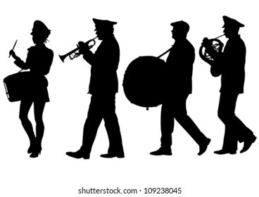 Vector image of a large military orchestra