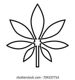 Vector image of a leaf of marijuana. Black and white drawing, monochrome. Isolated picture on white background. Celtic pattern, linear graphics, brevity, logo.