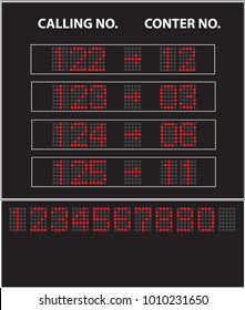 Vector image of led queue display with calling number and counter number