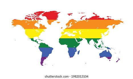 Vector image of a LGBTQ symbol. Rainbow world map, The most widely known worldwide is the pride symbol representing LGBT pride.