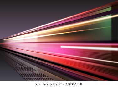 Vector image of lights when the vehicles is moving with long exposure. Isolated on background