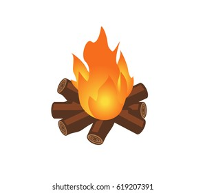 Vector image of a log fire