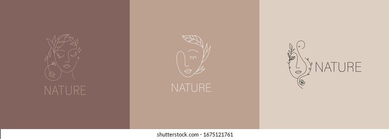 Vector image. Logo for business in the industry of beauty, health, personal hygiene. Beautiful image of a female face. Linear stylized image. Logo of a beauty salon, health industry, makeup artist.