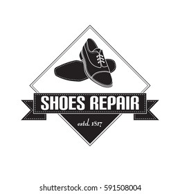vector image of logo of shoe repair services. Trendy concept for workshop  repair or restoration