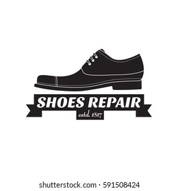 vector image of logo of shoe repair services. Trendy concept for workshop repair or restoration of leather goods