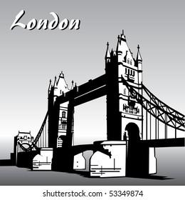 vector image of  london symbols. Famous London Bridge