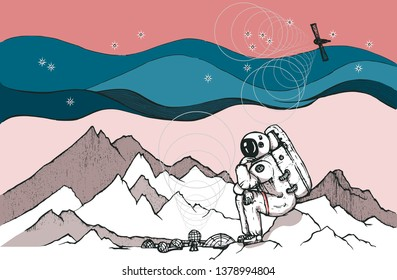 Vector image of lonely astronauts in planet mars sitting on icing rock.