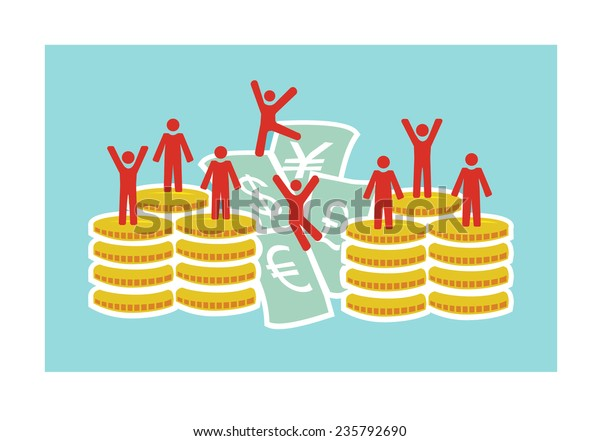 Vector image of lots of small people ontop of money