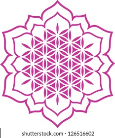 Vector image / Lotus of the heart - Flower of life / symbol harmony and balance