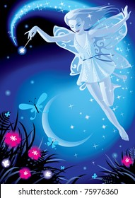 Vector image of luminous fairy girl on a blue night background with the moon and pink flowers
