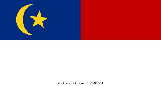 Vector image of  Malacca state flag, Malaysia, Proportion 1:2. EPS10.
