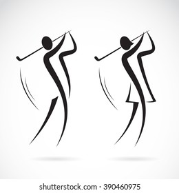 Vector image of an male and female golfers design on white background