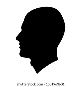 Vector image of a male profile in black color on a white background.