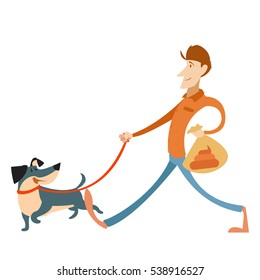 Vector image of the Man with its dog and a bag for gogs poop