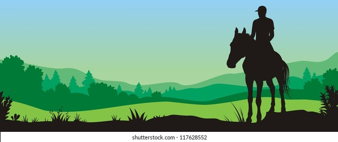 Vector image of man on horse against a background of landscape