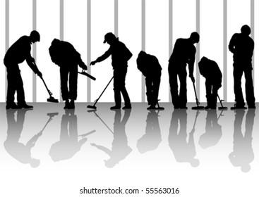 Vector image of man, sweeping leaves. Silhouette of work people