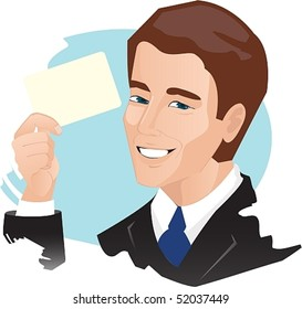 Vector image of a man who holds in his hand a card (ticket).Excellent opportunity to arrange your text.