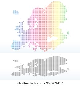 Vector Image - Map of Continent of Europe with Dot Pattern