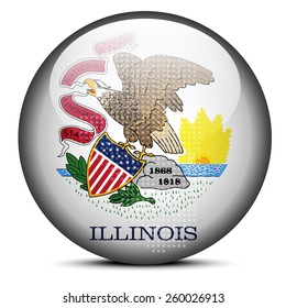 Vector Image - Map with Dot Pattern on flag button of USA Illinois State
