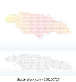 Vector Image - Map of Jamaica with Dot Pattern