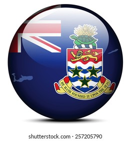 Vector Image - Map on flag button of Cayman Islands