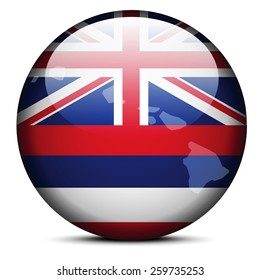 Vector Image - Map on flag button of USA Hawaii State