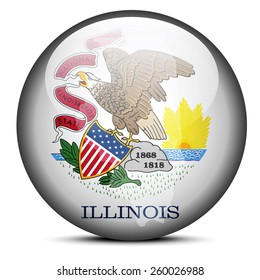 Vector Image - Map on flag button of USA Illinois State