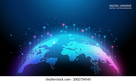 Vector image. Map of the planet. World map. Global social network. Future. Blue futuristic background with planet Earth. Internet and technology. Floating blue plexus geometric background.