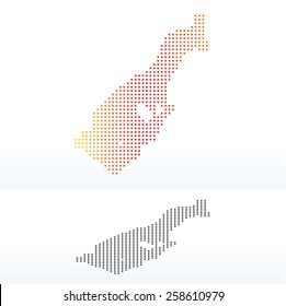 Vector Image - Map of Principality of Monaco with Dot Pattern