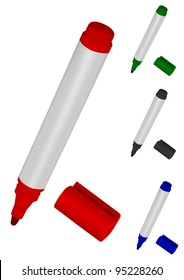 Vector image of markers of various colours on a white background