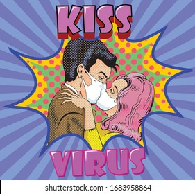 vector image of a masked kiss in a comic book style COVID-19