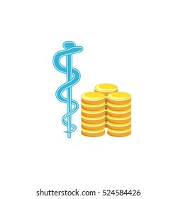Vector image of a medical symbol and coins