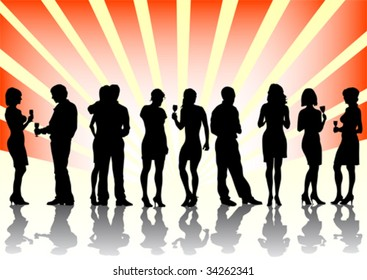 Vector image of men and women at the party. Silhouettes on a color background