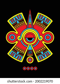 Vector image of the mexica symbol, prehispanic culture of Mexico of soot that means movement.