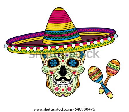 Vector Image Mexican Skull Calavera Sombrero Vector De Stock Libre