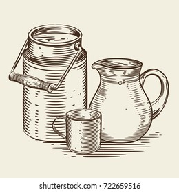 Vector image of a milk canister, a jug for milk and a cup. Monochrome depiction in the style of engraving.