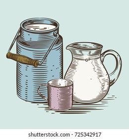 Vector image of a milk canister, a jug for milk and a cup. Depiction in the style of engraving.