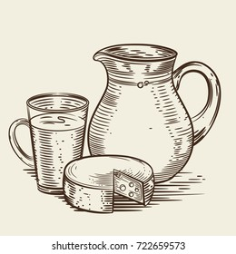 Vector image of a milk jug, glass and cheese. Monochrome depiction in the style of engraving. Dairy products.