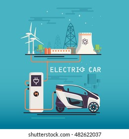 Vector Image. mini electric car charging system. Ecologically clean transport.