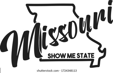 Vector image of Missouri. Lettering nickname Show Me State. United States of America outline silhouette. Hand-drawn map of US territory. Illustration for the USA poster, banner, print, decor, card