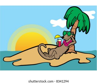 Vector image of mongoose on vacation on a tropical island wearing sunglasses and holding a glass with an umbrella in it